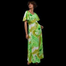 Circa 1970s Hawaii Nei Light Green Floral Maxi Dress