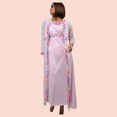 Circa 1970s Emilio Pucci Tagged 2-Pc Pink Mauve Nylon Nightgown & Peignoir Robe