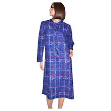 Circa 1970s Lady Blair ILGWU Paint Striped Blue Plaid Casual Dress