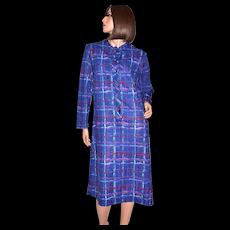 Circa 1970s Lady Blair ILGWU Paint Striped Blue Plaid Casual Dress