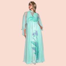 Circa 1970s Dan Lee Couture Mint Green Purple Flower Chiffon Dress w/ Shoulder Scarf