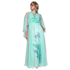 Circa 1970s Dan Lee Couture Mint Green Purple Flower Chiffon Dress w/ Shoulder Scarf
