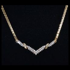 14K Gold 1.06 ct tw Diamond V-Style Necklace