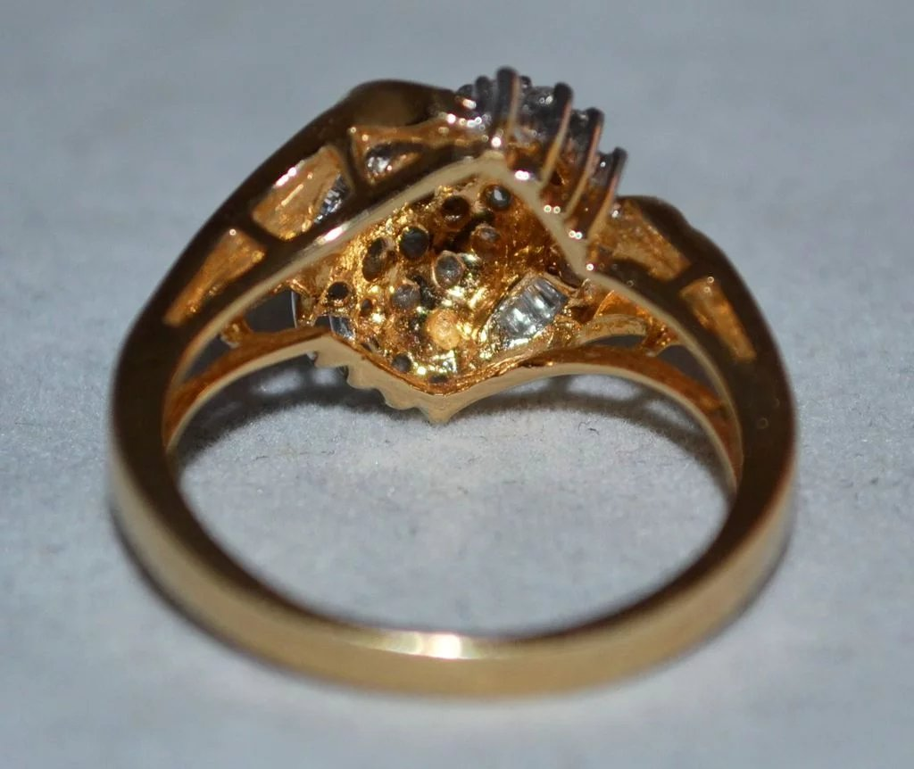 14k gold 0 9 ct baguette round waterfall diamond ring for Waterfall design ring