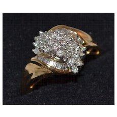 14K Gold 0.9 ct Baguette & Round Waterfall Diamond Ring