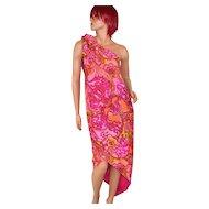 Circa 1960s Nikki's of Hollywood Pucci-Inspired Pink & Orange Paisley Sarong Dress