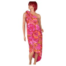 Circa 1960s Nikki's of Hollywood Pucci-Inspired Pink & Orange Paisley Sarong Dress