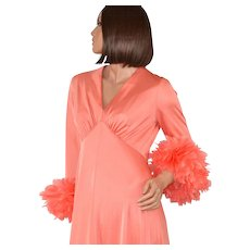 1970s Dan Lee Couture ~ Coral Peach Feather Cuff Maxi Dress