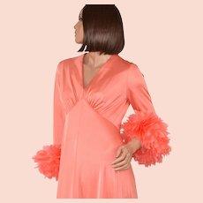 1970s Dan Lee Couture ~ Coral Peach Feather Cuff Maxi Dress