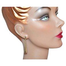 Circa 1970s 14K Gold Cone-Shaped Dangle Earrings