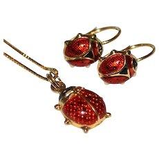 18K Milor Ladybug Earrings & 14K Signed Ladybug Pendant Necklace