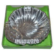 1975 Irvinware ~ Chrome Plated Shell Nut & Candy Dish w/ Original Box