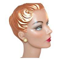 Faux Mabe Pearl w/ Goldtone Rope Trim Pierced Earrings