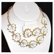 1950s White Thermoset Leaf Necklace & Clip Earrings
