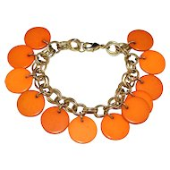Pumpkin Orange Lucite Disc Dangle Bracelet