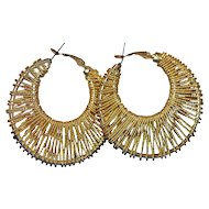 1970s Large Twisted Goldtone Hoop Earrings