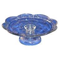 Embossed Glass Rose Pedestal Cake Plate