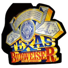 "Large 24"" Lighted 3D Texas Budweiser Beer Man Cave Promotional Advertising Sign"