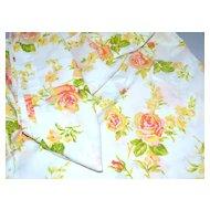 1960s Fieldcrest ~ Pink & Orange Rose No Iron Full Flat Sheet