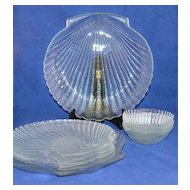 8-Pc Glass Shell Motif Dinner Plate & Bowl Set