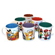 Set of 6 Disney ~ Colorful Mickey Mouse & Pooh Painted Mugs