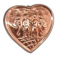Benjamin & Medwin ~ Solid Copper Colonial Floral Heart Cake Pan/Mold