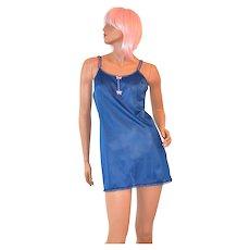 1960s Vanity Fair ~ Navy Blue  Lace w/ Pink Bows Full Slip