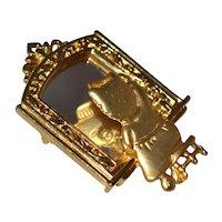 JJ ~ Cat in the Mirror Goldtone Brooch/Pin