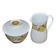 1970s Noritake China Summerville ~ Sugar Bowl & Creamer