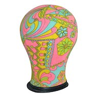 1960s Psychedelic Pink & Green Fabric Mannequin Head