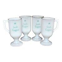 Set of 4 'Irish Coffee' White Milk Glass Mugs