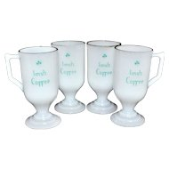 Set of 4 'Irish Coffee' White Milk Glass Mugs