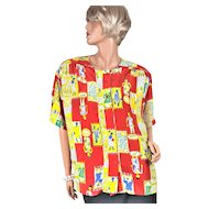 1980s Diane Von Furstenberg ~ Pop Art People Blouse