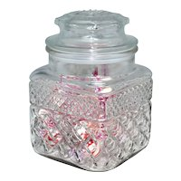 Anchor Hocking ~ Diamond Cut Pattern Candy Dish w/ Original Lid