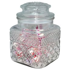 Anchor Hocking ~ Diamond Cut Pattern Candy Dish w/ Original Lid
