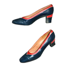 1960s Dominic Romano ~ Navy Blue & Red Leather Heels
