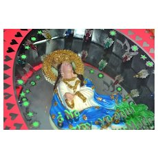 1970s Electric 3D 'Lady of Guadalupe' Virgin Mary Mirror Shadow Box Sculpture