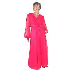 1960s Mike Benet ~ Fuchsia Pink Chiffon & Rhinestone Maxi Dress ~ Size 18.5