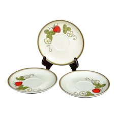 Metlox Poppy Trail ~ Set of 3 Strawberry Pattern Saucers