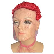 1950s Kaufmann Fifth Avenue ~ Custom Cherry Red Netted Veil Hat Topper/Skull Cap