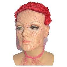 1950s Kaufmann Fifth Avenue ~ Custom Cherry Red Netted Veil Hat Topper/Skull Cap