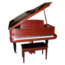 """1962 RARE Museum Quality Yamaha 5'2"""" RED Baby Grand Piano & Bench ~ Seattle World Fair"""