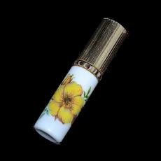 1950s Yellow Flower Milk Glass Purse Size Perfume Atomizer
