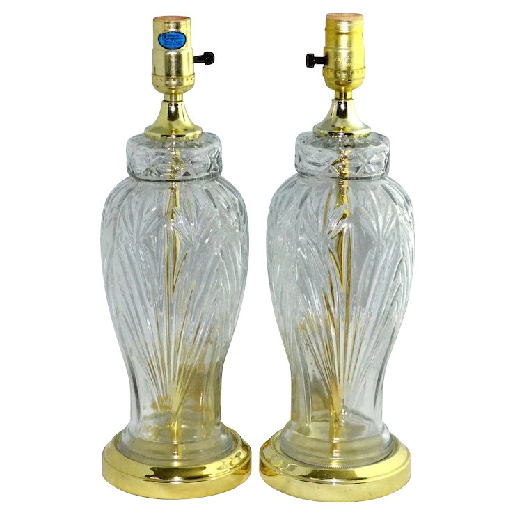 Set of 2 excelsior molded cut glass table lamps kitsch couture set of 2 excelsior molded cut glass table lamps mozeypictures Gallery