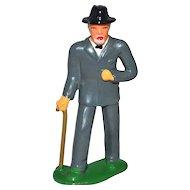 1930s Barclay ~ Elderly Man w/ Walking Cane Lead Toy Figurine
