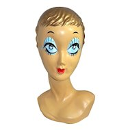 1960s Starry Blue-Eyed GOLD Hair Twiggy Biba Mannequin Display