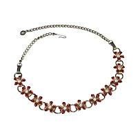 Red Enamel Rhinestone Flower Bookchain Choker Necklace