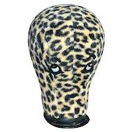1960s Leopard Print Fur Fabric Rhinestone 'Eyes & Lips' Mannequin Head