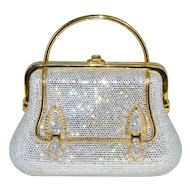 Judith Leiber Swarovski Crystal Buckle Design Minaudière Purse with Accoutrements