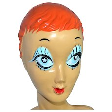 1960s Starry Blue-Eyed REDHEAD Twiggy Biba Mannequin Display